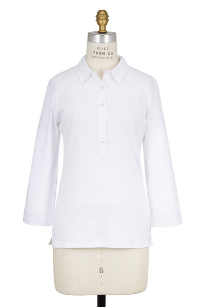 Bogner - Masha White Cotton Three-Quater Sleeve Polo