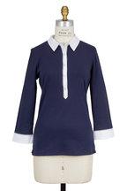 Bogner - Masha Navy Blue Cotton Three-Quater Sleeve Polo