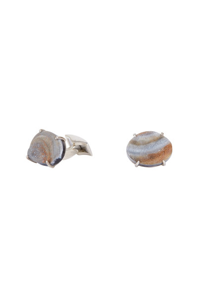 Spivey - Sterling Silver Oval Conchinas Cuff Links