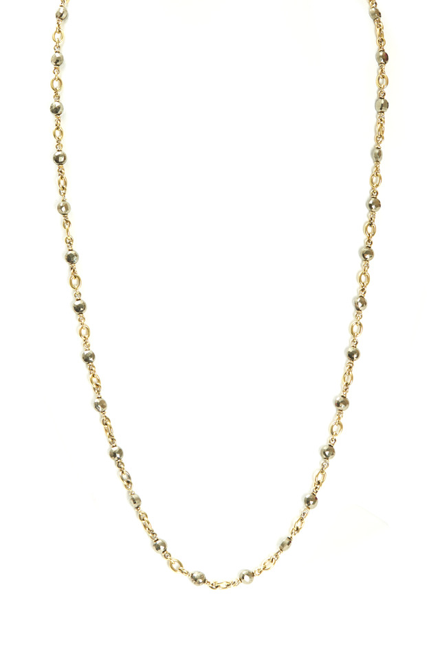 Yellow Gold Hematite Bead Chain Necklace
