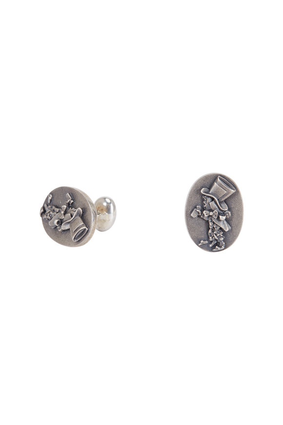 Spivey  Sterling Silver Mad Hatter Cuff Links
