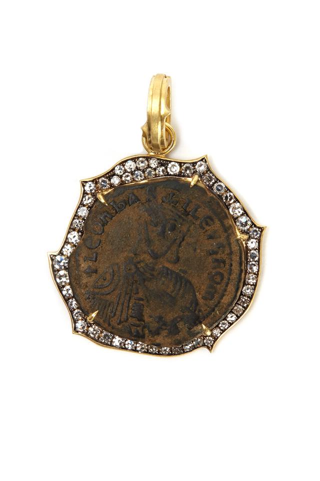 Gold Diamond Byzantine Coin Pendant