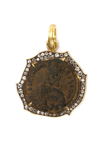 Sylva & Cie - Gold Diamond Byzantine Coin Pendant