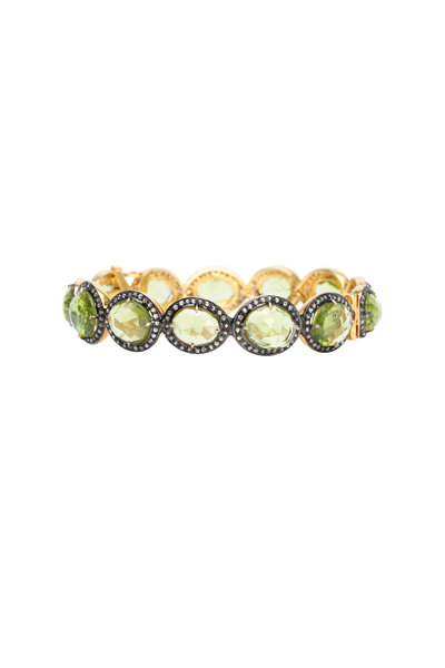 Loren Jewels - Gold & Silver Peridot Diamond Bracelet
