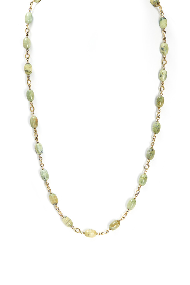 Yellow Gold Catseye Green Opal Bead Necklace