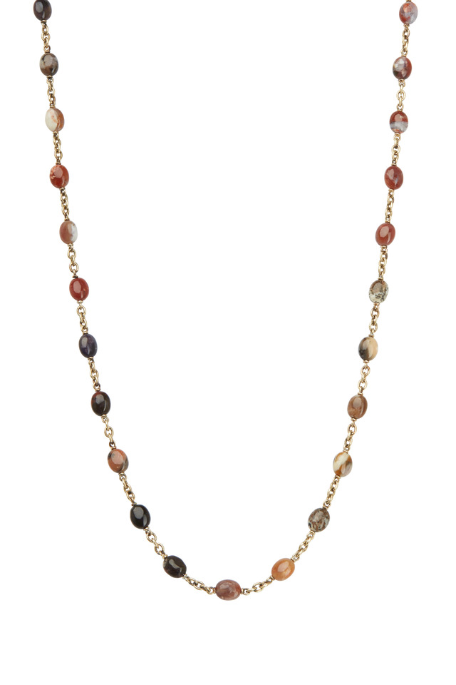 14K Yellow Gold Fluorite Opal Bead Necklace