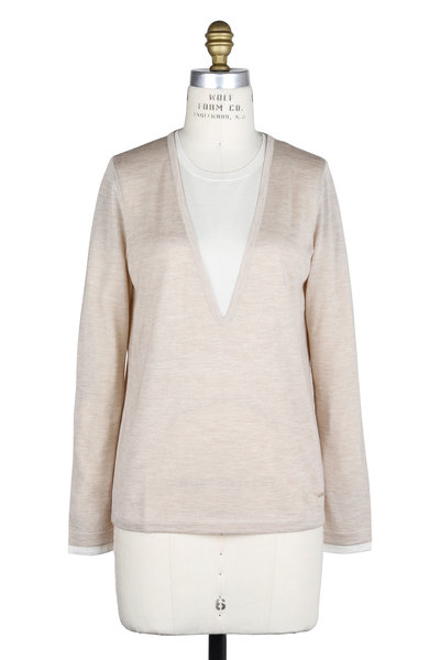 Akris - Birch & Off-White Cashmere & Silk Layered Sweater