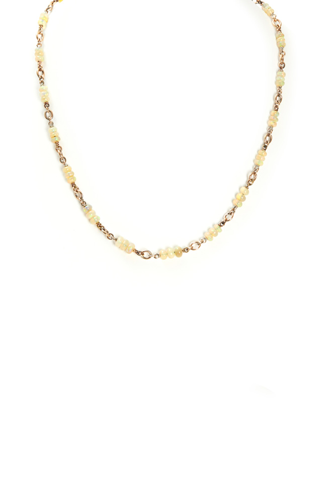 Rose Gold Opal Bead Necklace