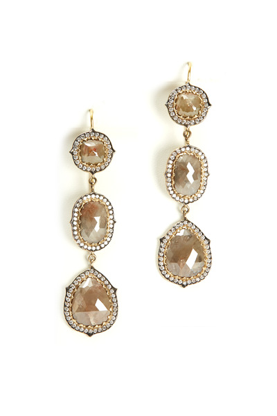 Sylva & Cie - Yellow Gold 3 Tier Sliced Rough Diamond Earrings