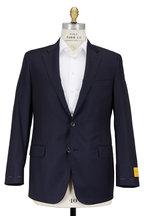 Hickey Freeman - Beacon Navy Blue Worsted Wool Traveler Sportcoat
