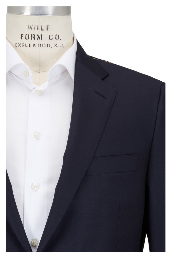 Hickey Freeman Beacon Navy Blue Worsted Wool Traveler Sportcoat