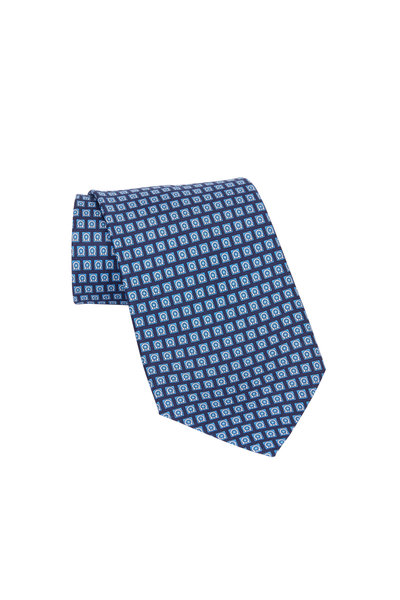 Salvatore Ferragamo - Navy Blue Gancini Square Silk Necktie