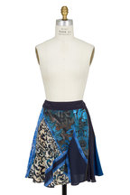 Roberto Cavalli - Blue Gonna Print Silk Flippy Mini Skirt
