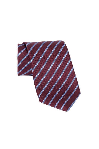 Ermenegildo Zegna - Burgundy Striped Silk Necktie