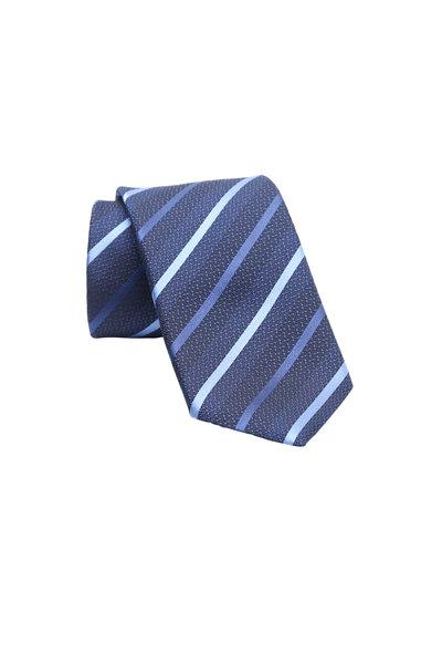 Ermenegildo Zegna - Dark Blue Striped Silk Necktie