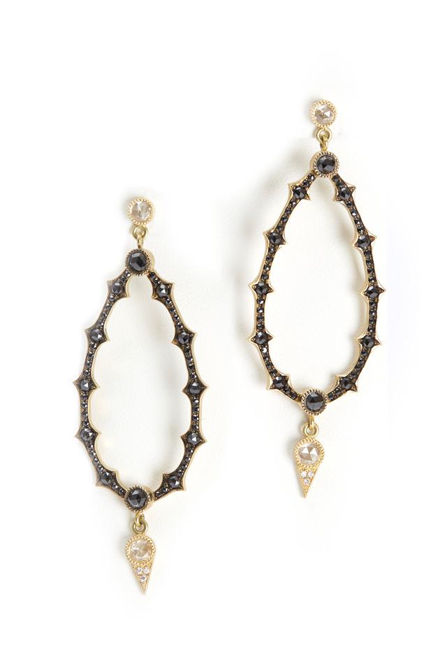 Gold Black Diamond Cut-Out Oval Earrings