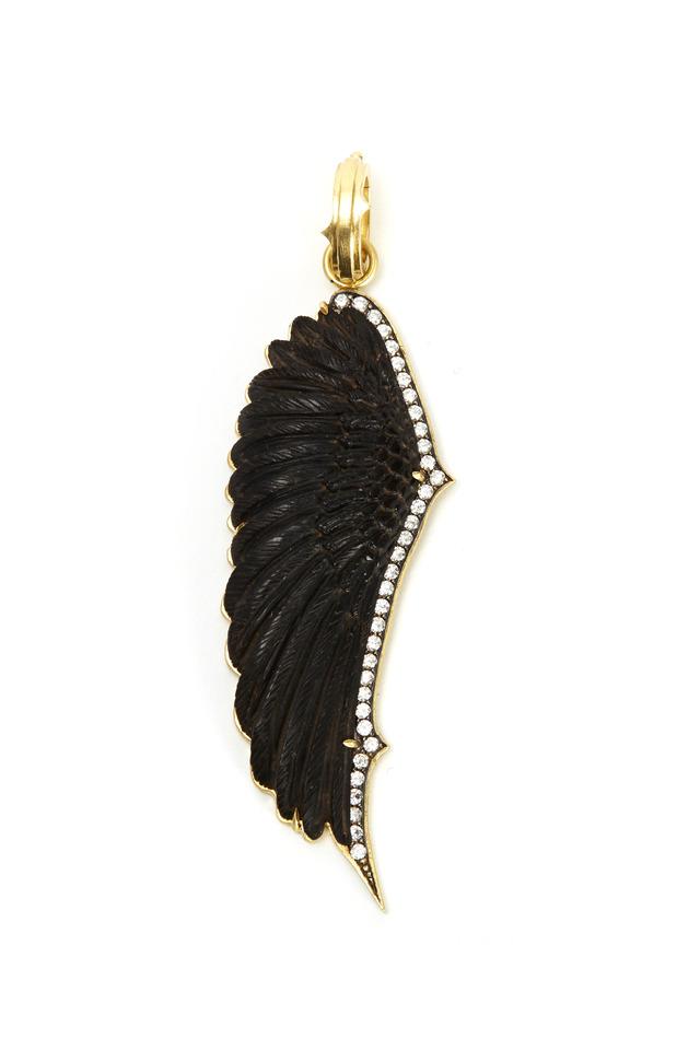 Gold Diamond Carved Ebony Wing Pendant