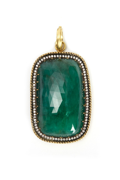 Sylva & Cie - Yellow Gold Cushion Emerald Pendant