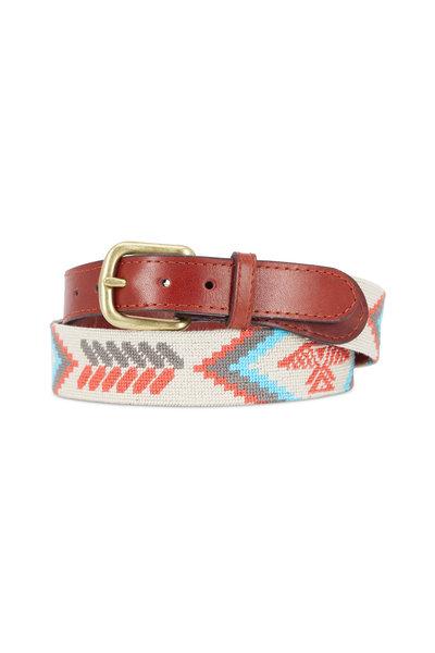 Smathers & Branson - Khaki Leather & Navajo Eagle Needlepoint Belt