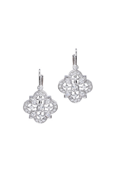 Kwiat - White Gold White Diamond Drop Clover Earrings
