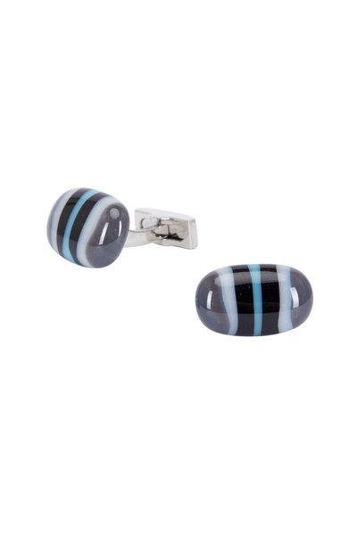 Bel Vetro - Sterling Silver Black & Blue Striped Cuff Links