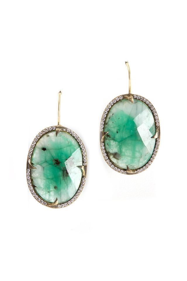 Yellow Gold Oval Emerald Slice Diamond Earrings