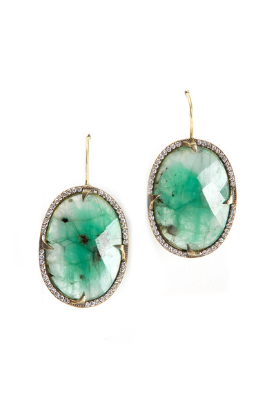 Sylva & Cie - Yellow Gold Oval Emerald Slice Diamond Earrings