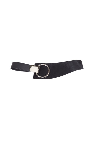Suzi Roher - Black Pony Hair & Leather Gunmetal Ring Belt