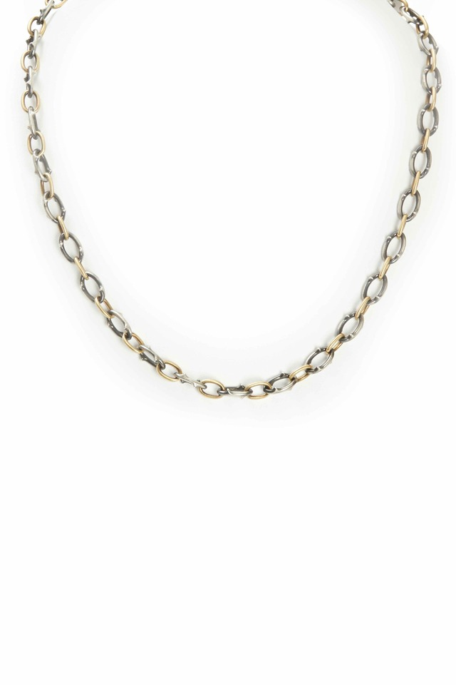Yellow Gold & Silver Oval Thorn Link Necklace