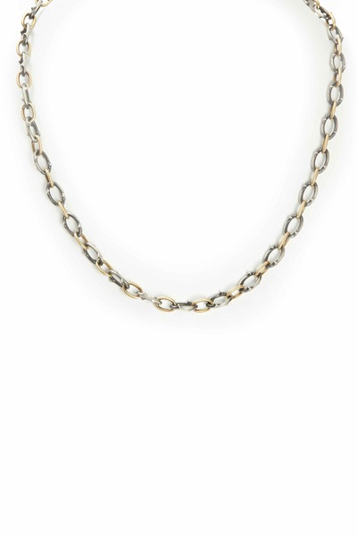 Sylva & Cie - Yellow Gold & Silver Oval Thorn Link Necklace