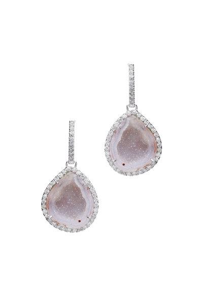 Kimberly McDonald - White Gold Light Geode Diamond Earrings