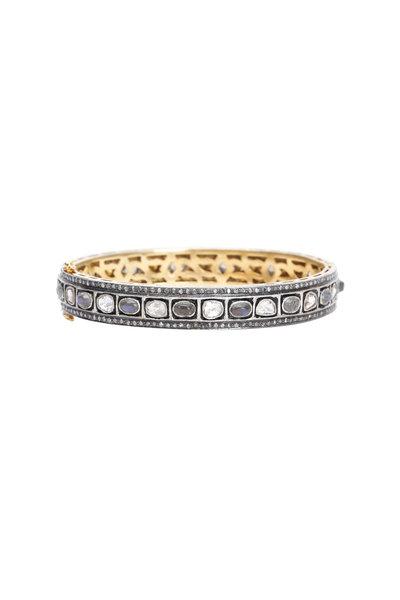 Loren Jewels - Gold & Silver Moonstone Diamond Bangle Bracelet