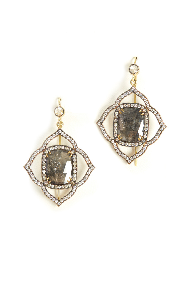 White Gold Rough Diamond Earrings