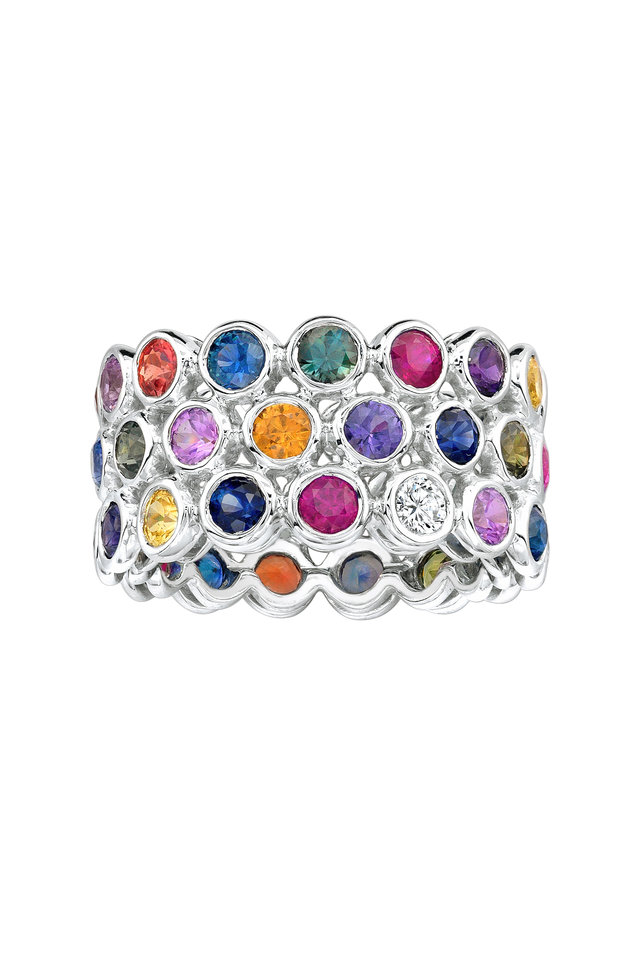 White Gold Multicolor Sapphire Ring