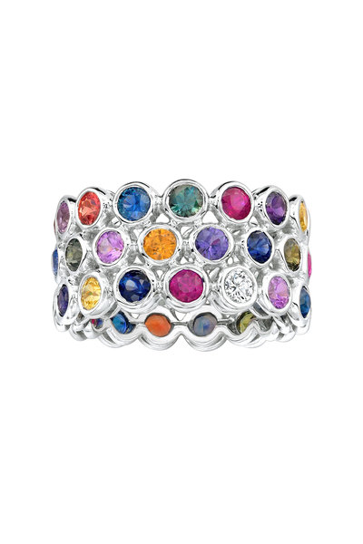 Aaron Henry - White Gold Multicolor Sapphire Ring