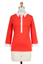Bogner - Masha Red Cotton Three-Quater Sleeve Polo