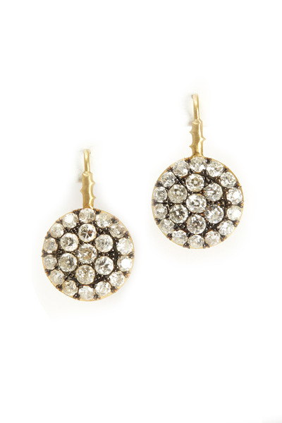 Sylva & Cie - Yellow Gold Diamond Drop Earrings