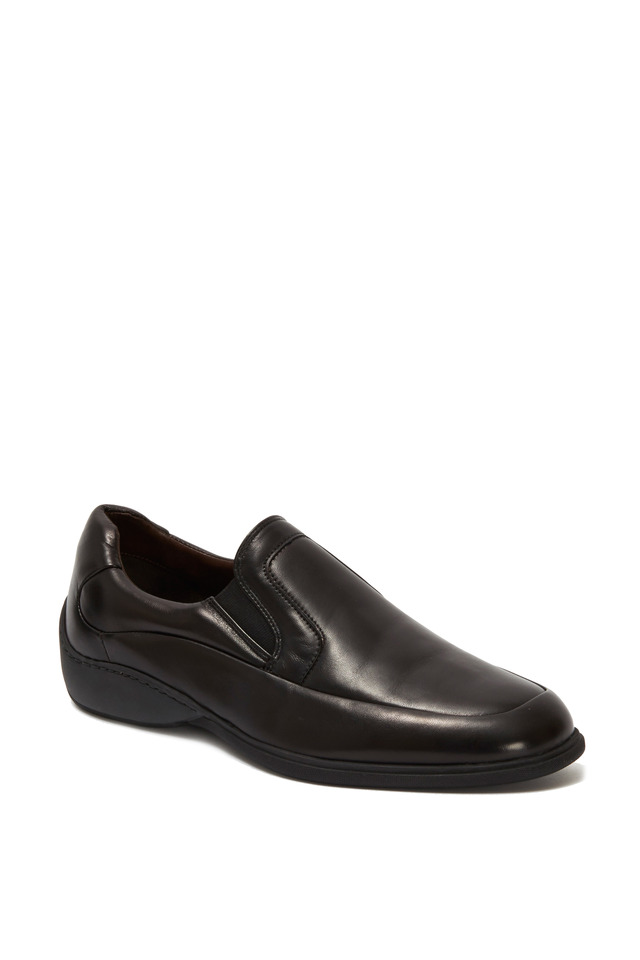 Infano Black Leather Slip-On Loafer
