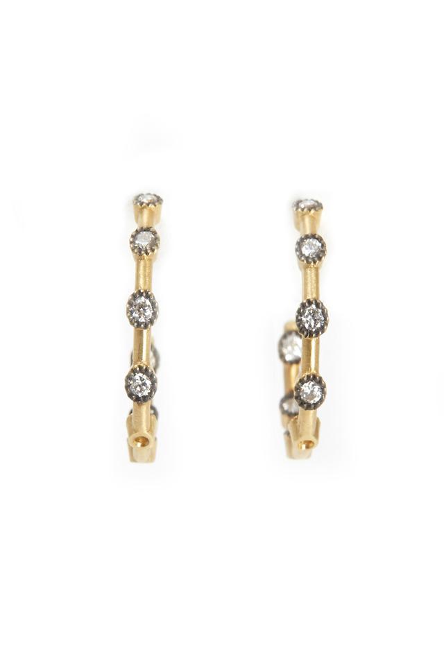 Yellow Gold Diamond Dot Hoop Earrings, Small