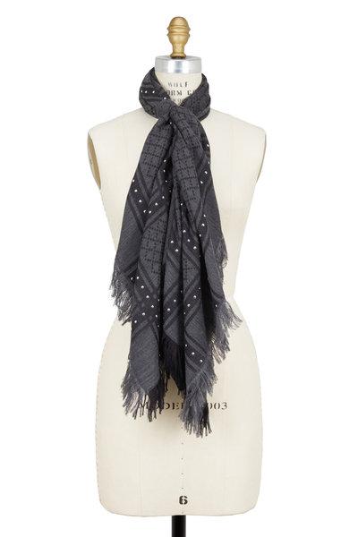 Gucci - Dark Gray Studded Wool & Silk Scarf