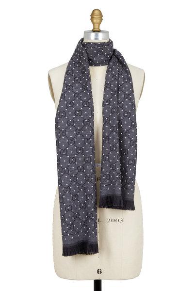 Gucci - Gray GG Jacquard Stud Embellished Wool Scarf