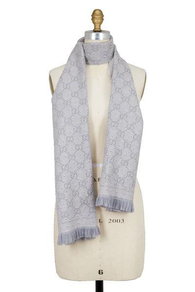 Gucci - Light Gray GG Jacquard Stud Embellished Wool Scarf