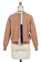 Victoria Beckham - Camel Lambswool Back Bow Crewneck Sweater
