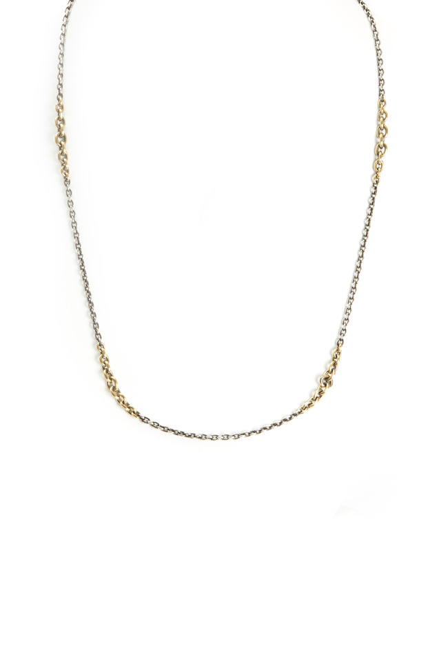 Yellow Gold & Sterling Silver Chain Necklace