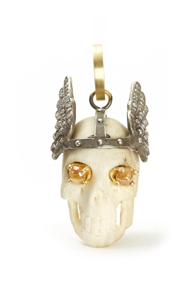 18K Yellow Gold Diamond Winged Skull Pendant