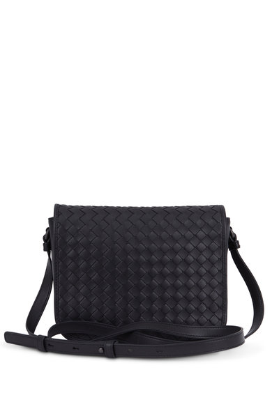Bottega Veneta - Black Intrecciato Flap Medium Crossbody