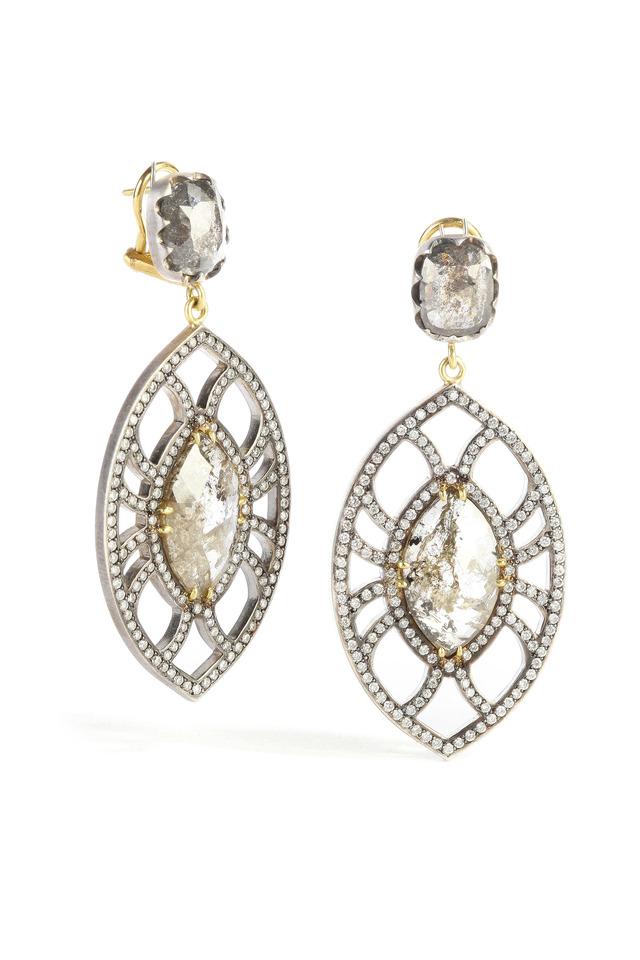 Yellow & White Gold Rough & White Diamond Earrings