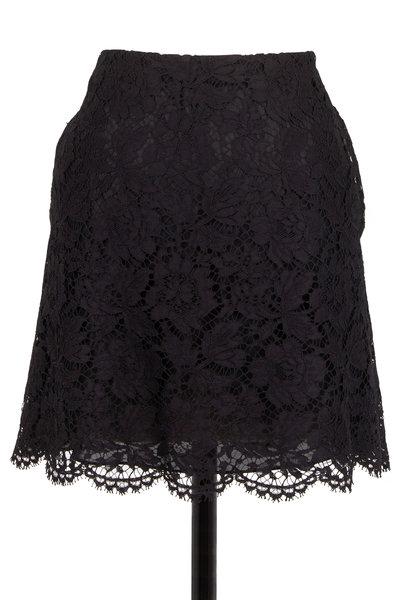 Valentino - Black Lace A-Line Short Skirt