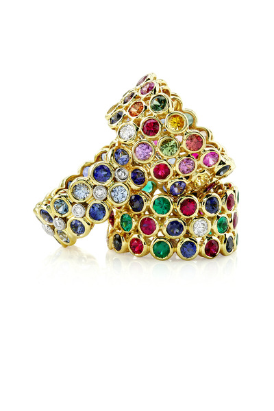 Aaron Henry - Yellow Gold Three Row Gemstone Ring