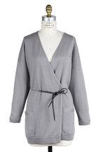 Brunello Cucinelli - Gray Cashmere Cardigan With Monili & Leather Belt